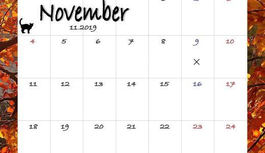 ヘナタトゥー2019年11月の予約カレンダー